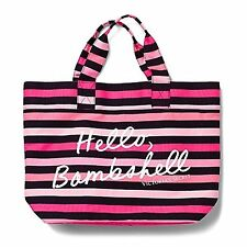 "Victoria's Secret  ""Hello, Bombshell"" tote Beach Bag Black Pink Striped"