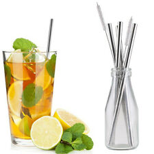 4Pcs Reusable Washable Stainless Steel Drinking Straws Set With 2 Cleaner Brush
