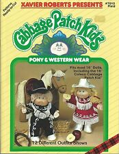 CABBAGE PATCH KIDS PONY & WESTERN WEAR XAVIER ROBERTS SEWING PATTERNS BOOK NEW