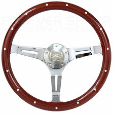 "1978 to 1991 Ford Bronco, Pick Up Truck Chrome & Mahogany 15"" Steering Wheel Kit"