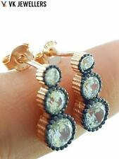925 STERLING SILVER TURKISH HANDMADE JEWELRY ROSE GOLD TOPAZ EARRINGS E2722