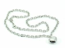 Stainless Steel 316L Chain Link Necklace Heart Pendant Women's Women