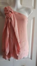 BCBG MAXAZRIA 100% SILK PEACH ONE SHOULDER RUFFLE ROSETTE BLOUSE TOP XXS