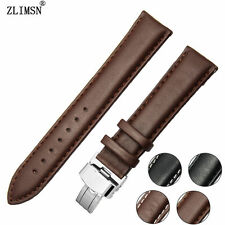 20mm NEW Brown Soft Smooth Genuine Leather Watch Band Strap Belt & Fold Clasp