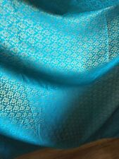 """10 MTR (NEW) TURQOISE/GOLD BROCADE FABRIC...45"""" WIDE £39.99 SPECIAL OFFER"""