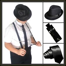 Black Set Slim Necktie, Fedora Straw Hat Suspenders Gangster Mafia 1920s Costume