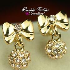 9CT Gold Plated Bowknot&ball Dangle Stud Earrings W/ Swarovski Crystals