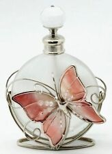 Perfume Bottle Frosted Glass Wirework Pink Enamel Butterfly & Flowers