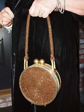 Vintage 1940's Bronze Colored Canteen-style Beaded Evening Bag