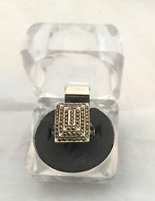 STUNNING VINTAGE SILVER 925 MARCASITE RECTANGULAR ART DECO STYLE RING - SIZE 'M'