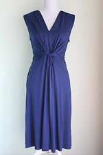 Size 12 C-RC PEPPERBERRY Blue Dress V-Neck Flattering Design VGC (29)