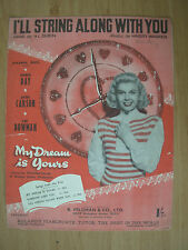 VINTAGE SHEET MUSIC - I'LL STRING ALONG WITH YOU - DORIS DAY