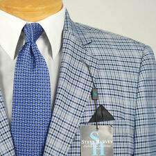 44L STEVE HARVEY Blue Checked Sport Coat - 44 Long - SB08
