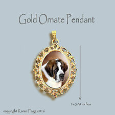 SAINT BERNARD DOG -  ORNATE GOLD PENDANT NECKLACE