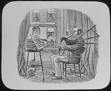 Glass Magic Lantern Slide MAN PLAYING BAGPIPES  C1890 DRAWING