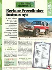 Carrozzeria 4X4 Bertone Freeclimber BMW 6 Cyl. Italia  Car Auto FICHE FRANCE