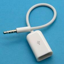 Macho de 3.5 Mm Aux Audio Plug Jack A Usb 2.0 Adaptador Hembra Cable Blanco