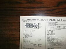 1970 Oldsmobile EIGHT Series Models POLICE 455 CI V8 4BBL Tune Up Chart
