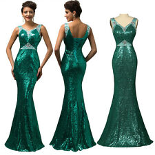 Shiny Sequin Bead Wedding Bridesmaid Evening Gowns Party Long Mermaid Prom Dress