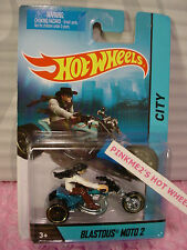 2015 Motorcycle BLASTOUS MOTO 2☆Lgt Blue; w/removable Rider☆Hot Wheels☆1:64