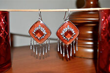 NIB $495 MIRIAM SALAT Fringe Drop Earrings SS Resin CZ Chandelier Burnt Orange