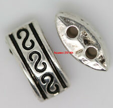 50pcs Tibet Silver Nice 2-Hole Jewelery Crafts Beads Spacer beads Making 10x4mm