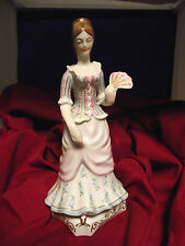 """Hollohaza 1950s - 11"""" LADY WITH ROSES AND FAN FIGURINE - NR"""