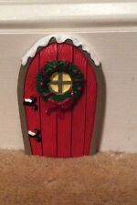 RED CHRISTMAS ELF FAIRY DOOR POTTERY MAGICAL XMAS ORNAMENT