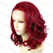 Lovely French Lace Front wig Burgundy Red mix Softly Curly Short Ladies Wigs UK
