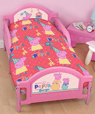PEPPA PIG FUNFAIR JUNIOR COT BED DUVET QUILT COVER SET GIRLS CHILDRENS TODDLER