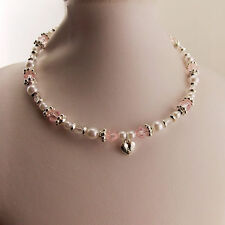 2pc set - Girls Kids Necklace & Ring Set Love Heart/Pearl/Pink Crystal BNWT Cute