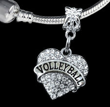 Volleyball Charm Fits European Bracelet crystal heart style charm only gift