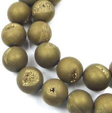 10mm Druzy Agate Matte Metallic Golden Round Beads (18 pcs)