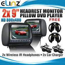 "Headrest 2 X 9"" HD Car Monitor Pillow 2 DVD Player GAME"