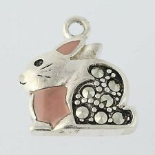 Bunny Rabbit Charm - Sterling Silver Marcasites & Pink Enamel