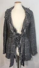 McGinn Boucle Metallic Tweed Jacket Blazer Black White Women's Sz 34