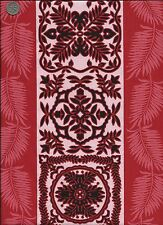 #098 TRENDTEX - HAWAIIAN FABRIC - OUT OF PRINT - 2002 - RED,BLACK,WHITE -1 YARD