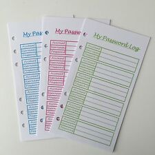 PERSONAL My Password Log Planner Insert Filofax Kikkik Punched 12 Pieces
