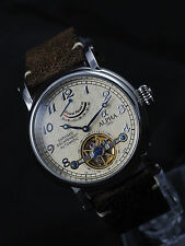 Alpha vintage mechanical automatic watch power reserve open heart