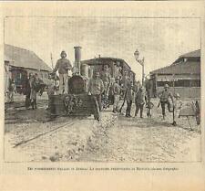 Stampa antica MASSAUA Stazione ferroviaria treno Eritrea 1890 Old antique print