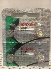 Maxell Lr41 4 Battery Ag3 192 Pack Cell Batteries Button Watch Alkaline New 392
