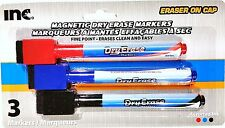 New ! 3 PK Magnetic Dry Erase Markers with Eraser on Cap, 3 Colors