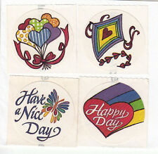 Lot of Four Vintage Rainbow Balloon Love Themed Stickers Kite Butterfly