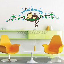 Sweet Dream Monkey Removable Vinyl Decal Kid Room Home Decor Wall Stickers DIY