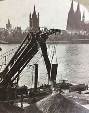 Stereoscope - Barges Unloading Along The Rhine, Cologne Cathedral, Germany