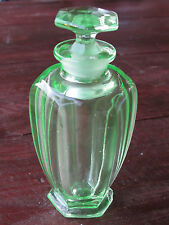 VINTAGE GREEN DEPRESSION GLASS-URANIUM GLASS? PERFUME BOTTLE w/ STOPPER-DAUBER