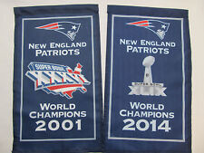 "New England Patriots Banners 2001 2014 World Champions 2 Banner Set 8.5""x14"" NEW"