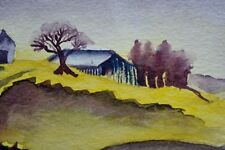 Farm at Dusk. Contemporary Watercolor Landscape Painting Artist South Africa