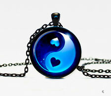 New Ying yang Charm Glass Dome Cabochon Black Chain Necklace Pendant #2