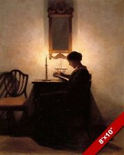YOUNG WOMAN READING BOOK BY CANDLELIGHT VICTORIAN PAINTING ART REAL CANVAS PRINT